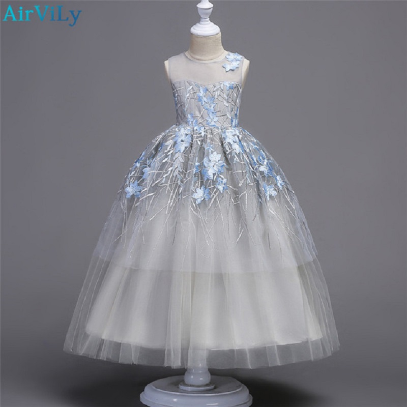 Teenager Wedding Flower Girls Princess Tulle Kids Girls Elegant Pageant Party beauty Floor long Dress for 8 10 12 14 16 18