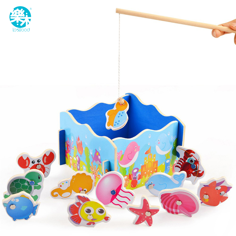 Wooden magnetic fishing toys childrens educational wooden toys, preschool fun games