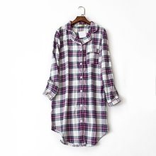 2019 Spring Female Casual Plaid nighty dress Ladies 100% Brushed Cotton  Nightgown Women Long Sleeve 022ac23b3