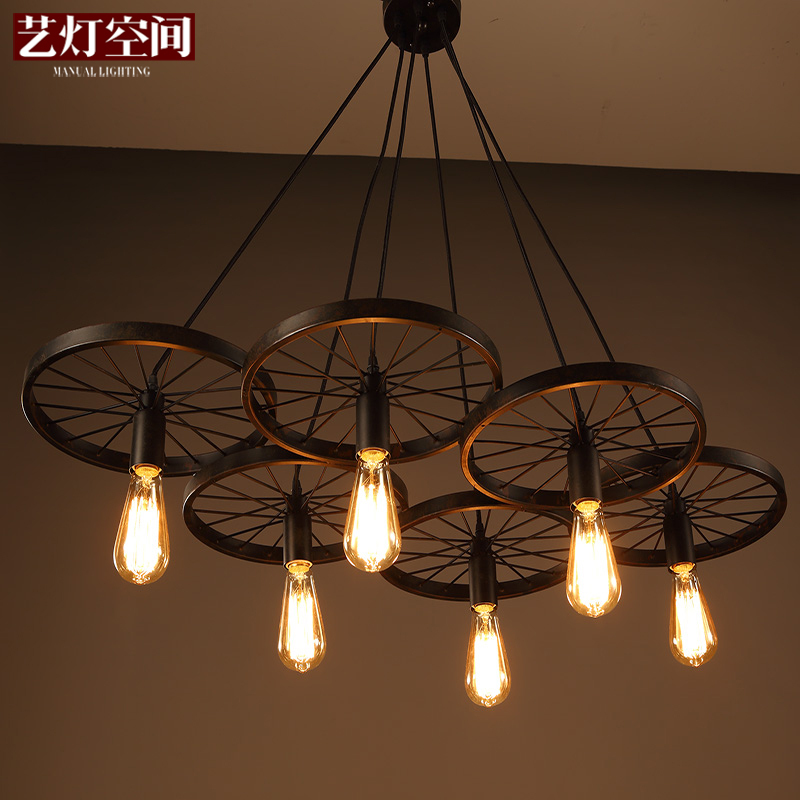 loft creative personality retro restaurant bar American country wrought iron chandeliers industrial style wheelsloft creative personality retro restaurant bar American country wrought iron chandeliers industrial style wheels
