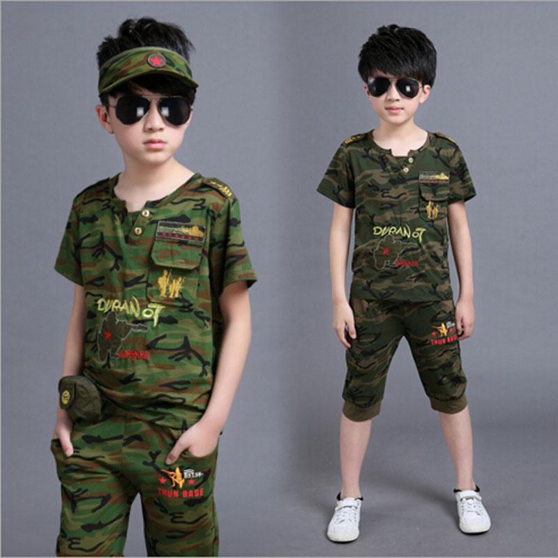 Camouflage boys clothing set Baby boys clothes baby sets short t shirt+pants 5 pcs/set clothes kids baby boys outwear