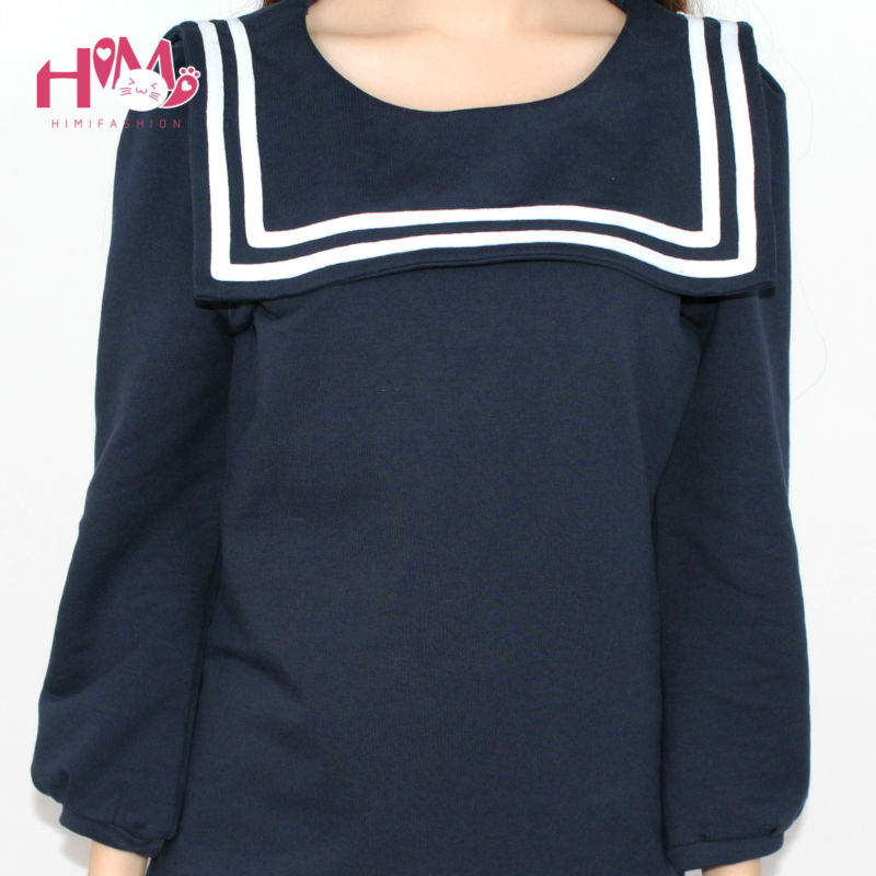 2019 New Navy Collar Women Half Sleeve Cotton Doll Shirt Sailor Moon Shirt For Girl College Style Cute Tops Navy White Plus Size Blouses & Shirts