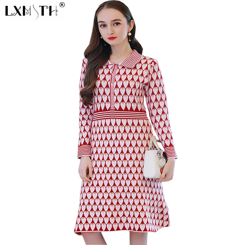 New Women Knitting Dress Autumn Winter Gold Thread Peach Heart Christmas Dress Knitted Single Breasted Sweater Dresses Casual