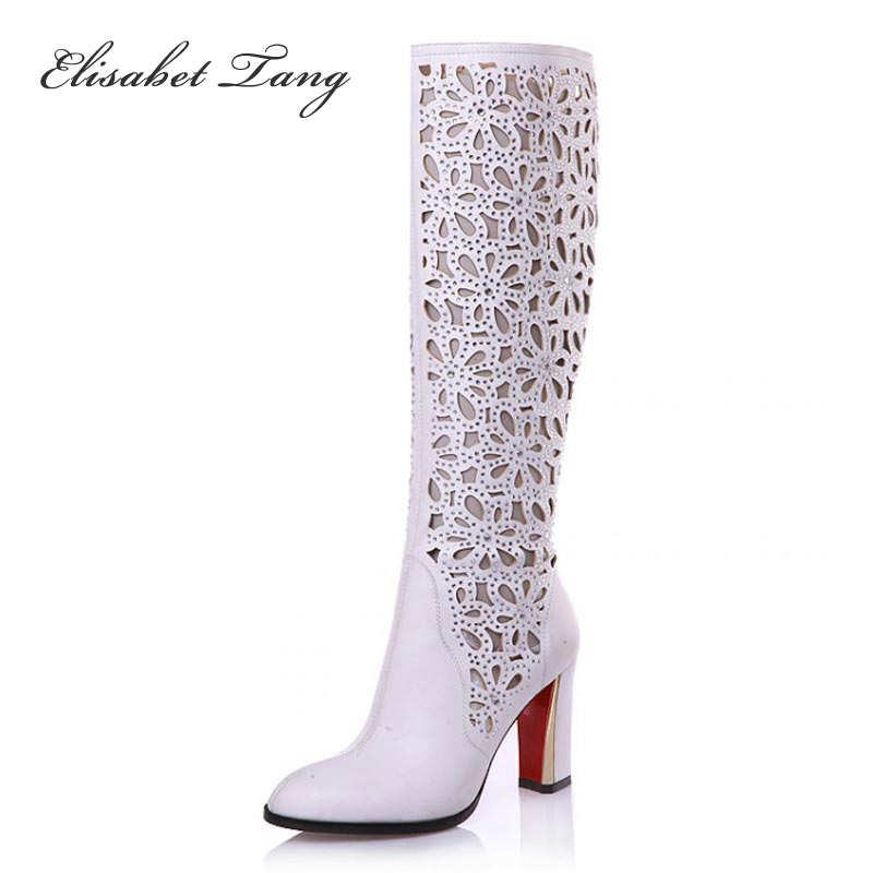 ФОТО Elisabet Tang New Fashion Sexy Round Toe Knee High Boots For Women Woman Rhinestone Cut-outs White Net Long Boots Summer Shoes