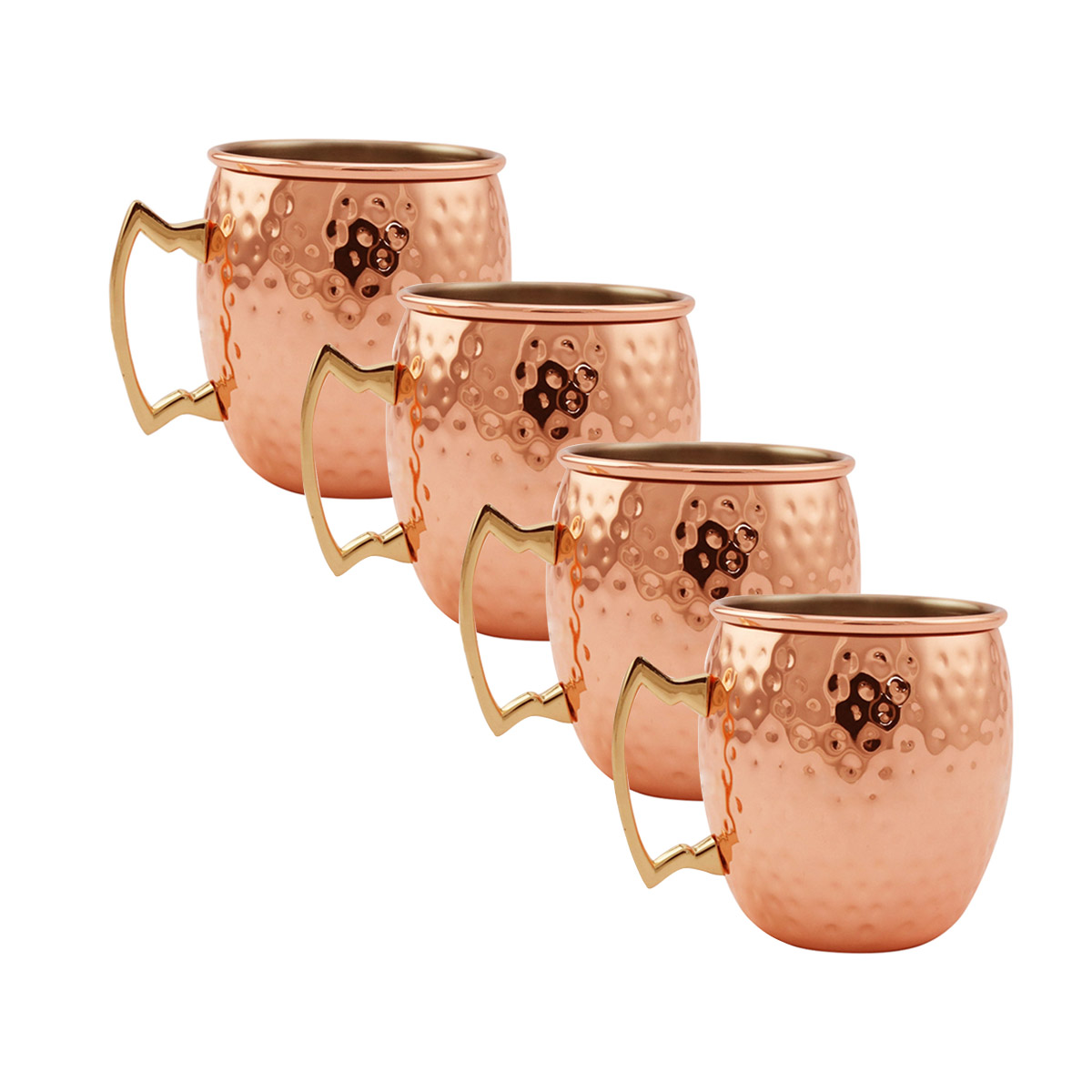 19 oz Stainless Steel Cups Set of 2 Hammered Moscow Mule Mug Rose Gold Hammered-type