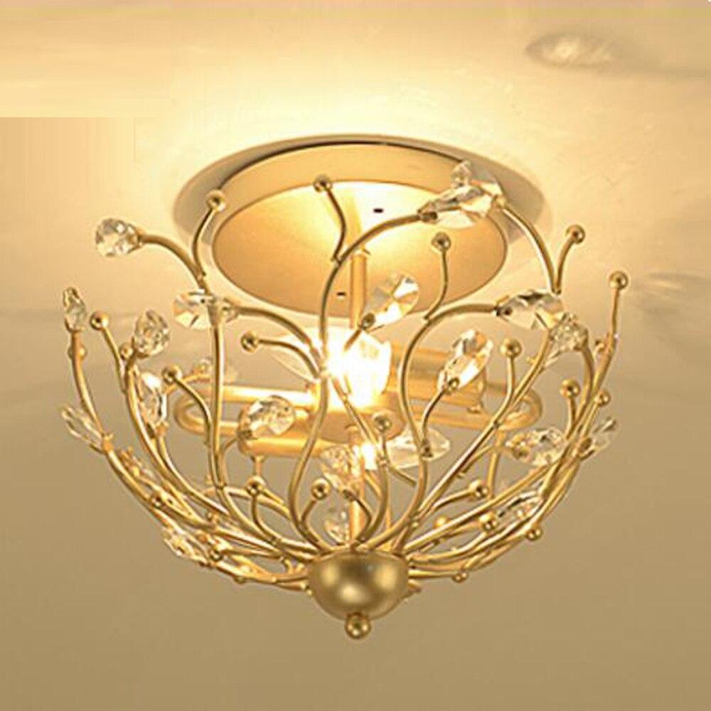 Винтажный дизайн Хрустальные потолочные светильники Светодиодный лампа с плафоном Dia38 * H33cm блеск прихожей светильники приспособление