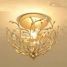 Vintage design crystal ceiling lights LED plafond lamp Dia38*H33cm lustre hallway lights fixture(China)
