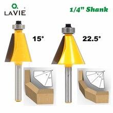 """LA VIE 1 cái 1/4 """"Shank 15 Độ 22.5 Độ Chamfer Bevel Viền Router Bit Phay Cutter cho Gỗ chế biến gỗ Bits MC01027"""