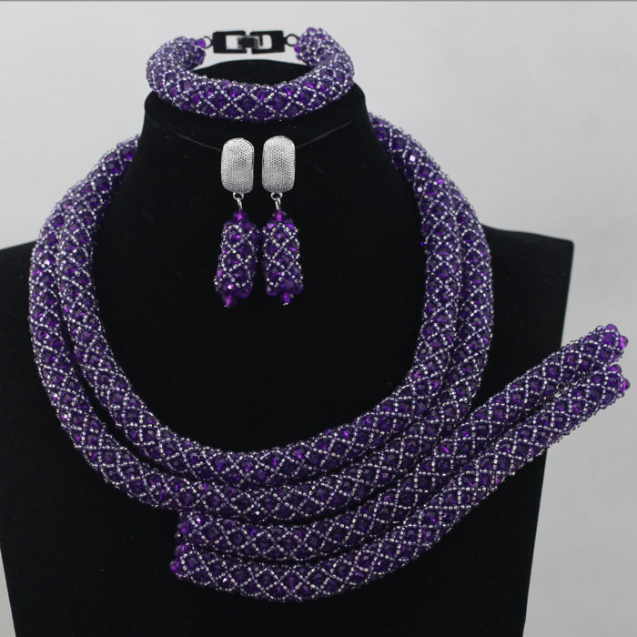 Purple  Gorgeous African Jewelry Bead Set Charming Nigerian Bead Set Charming Design Handmade Free Shipping hx248