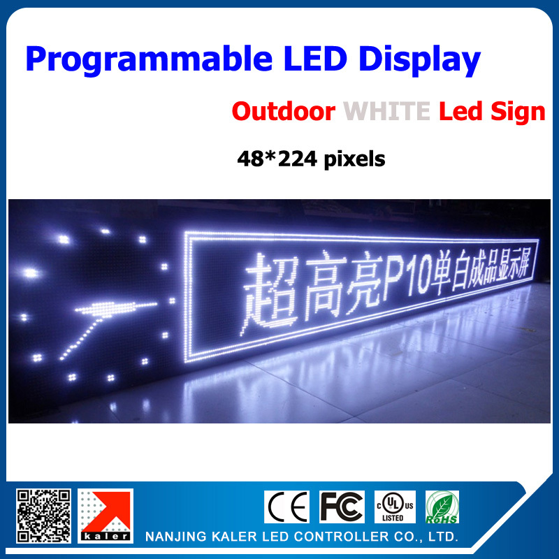 48*224dots Outdoor High Clear Led Sign Board High Brightness White Led Moving Sign Waterproof P10 Led Diplay Single White Color