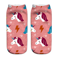 Girls' 3D Unicorn Printed Ankle Socks