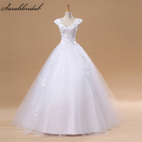 In Stock Ball Gown Wedding Dress 2017 Real Pictures Crystal Lace V neck Vestido De Noiva Floor Length Lace Up Bridal Gowns S038A