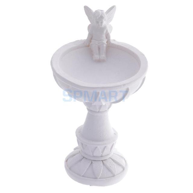 US $7 88 21% OFF|1:12 Scale Dollhouse Miniature White Bird Bath Fountain  with Angel Statue Fairy Garden Decoration Accessories-in Dolls Accessories