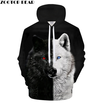 Ying and Yang Wolf Hoodies Streetwear Sweatshirt Men
