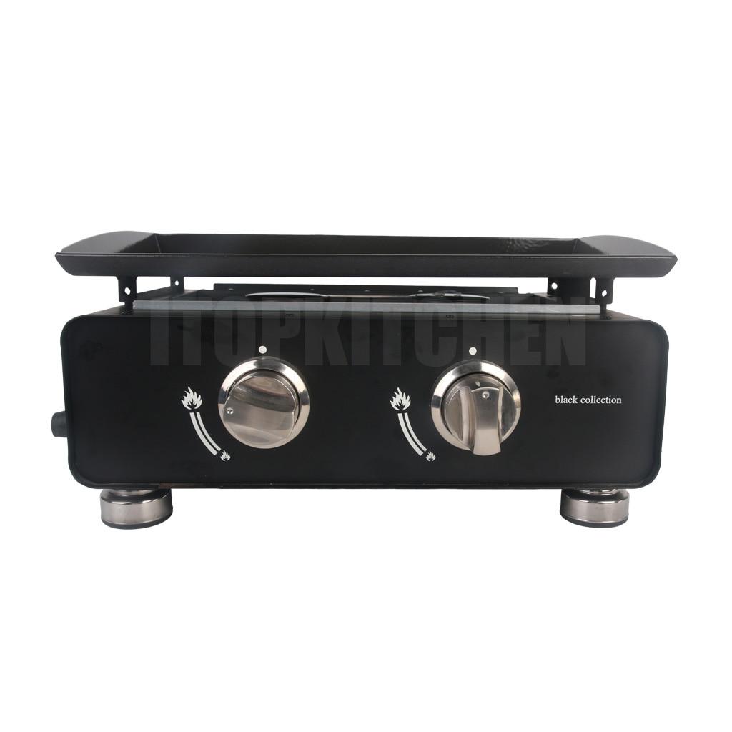 Powerful 2 Burners Gas BBQ Plancha For Outdoor BBQ Grill Steak Chicken Cooker Fryer Kitchen Accessories