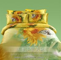 3D Butterfly yellow green floral bedding set queen size for adults quilt duvet cover bed in a bag sheets bedspreads linen cotton