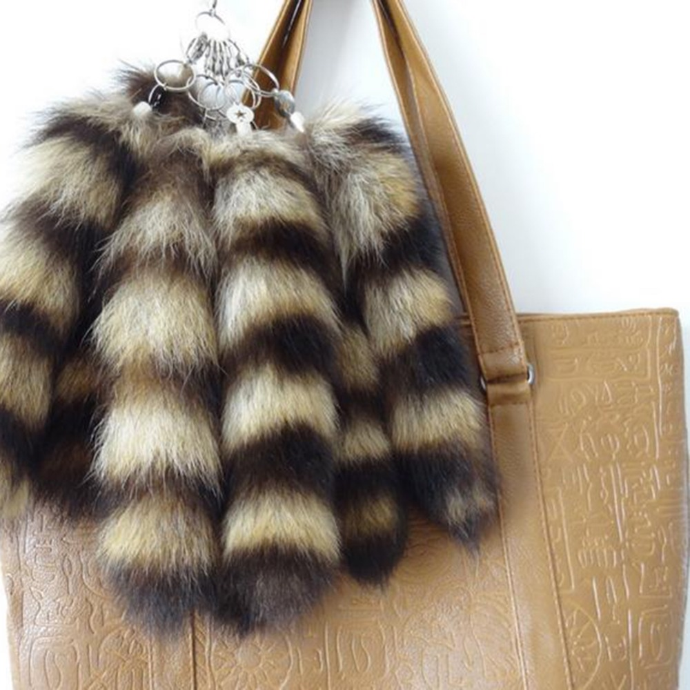 1pc Genuine Raccoon Fox Tail Natural Fur Tail Key Chain Keyring For Women Bag Car Decor Gifts Jewelry
