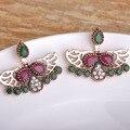 Blucome waterdrop brincos para mulheres escavar asa resina turco design vermelho vintage cristal brinco pendientes ear studs