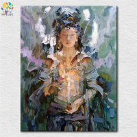 Hand Made Chinese Buddha Art Canvas Decoration Oil Painting Female Godness Bodhisattva God Deity Picture Home