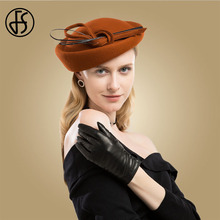 FS Orange Vintage Wool Hat With Bow Pillbox Wedding Fascinators For Women Elegant Black Church Dress Royal Hats Chapeu Feminino