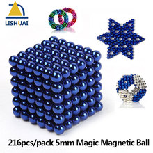 216pcs/pack 5mm Magic Magnetic Ball/ Strong NdFeB DIY Buck Balls/ Neo Cubes Puzzle Magnets Blue Color