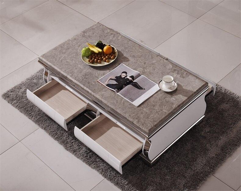 Table basse en marbre naturel en acier inoxydable salon meubles de maison minimaliste moderne rectangle mesas de centro table basse