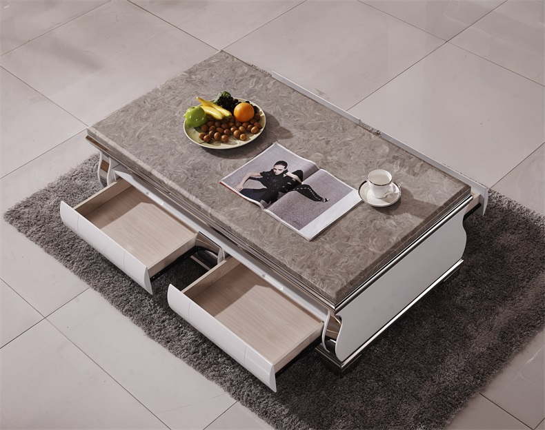 Natural Marble Stainless Steel Coffee Table Living Room Home