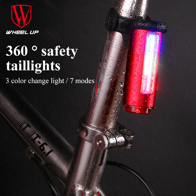 WHEEL UP Bike Light USB Rechargeable 360 Safety Seat Post Tail-Light 7 Modes COB Lamp Beads LEDS Bicycle Light Free Shipping