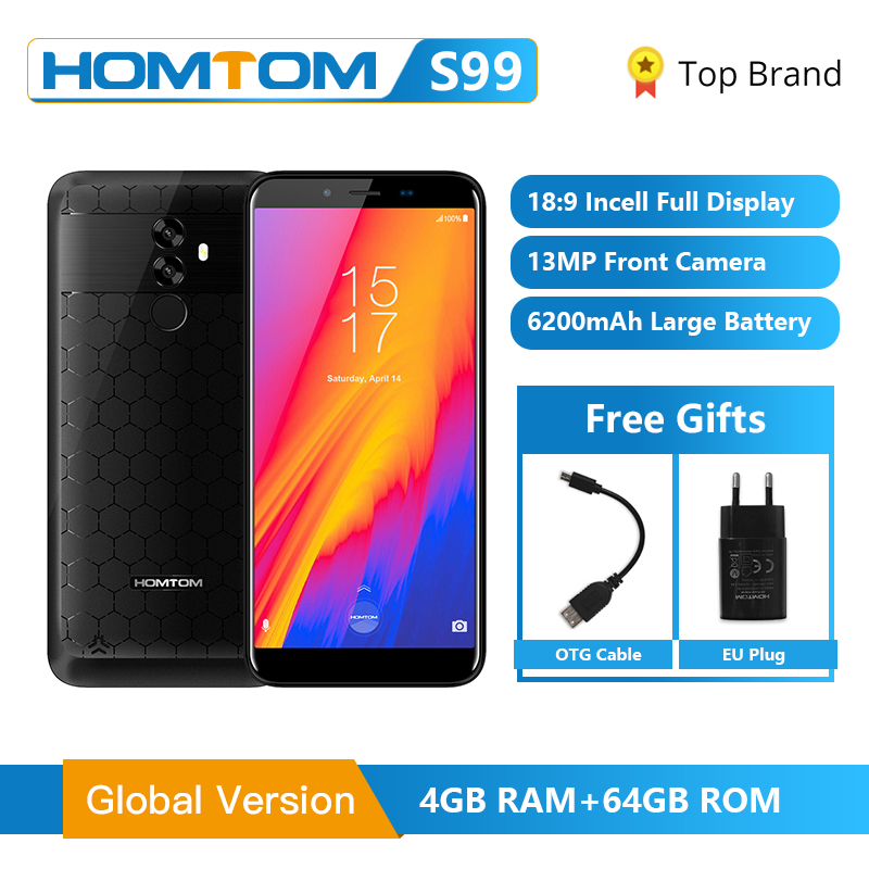 HOMTOM S99 Face ID 6200mAh 4GB 64GB Smartphone 5.5-Inch Bezel-less 21+2MP Dual Rear Cameras Android 8.0 Fingerprint Mobile Phone