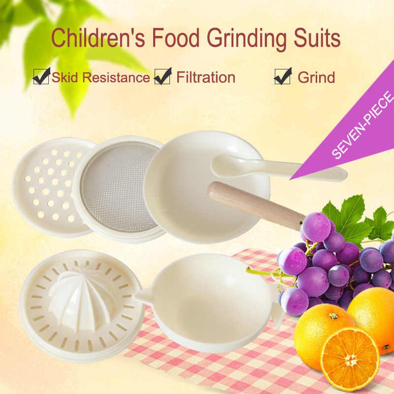 7PCS เด็กบดอาหารเสริมชุดอาหารชุดสุขอนามัย Nibbler ทารกบนโต๊ะอาหารทำด้วยมือแผ่นคู่มือ T2402
