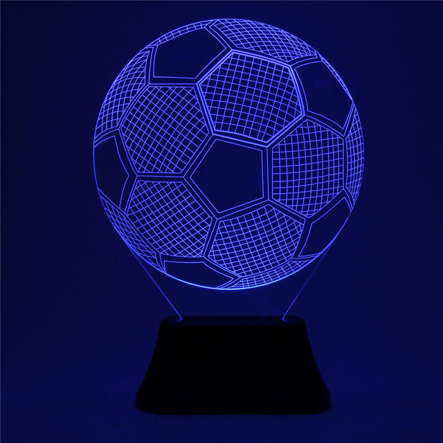 1.5W Acrylic 3D Soccer Football LED Touch Control 7 Color Changing Night Light USB Powered Desk Table Lamp Christmas Gifts