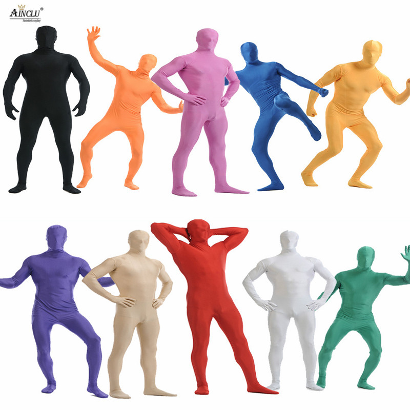 Ainclu Mens Spandex Nylon Lycra Zentai MultiColor Body Second Skin Tight All-inclusive Dancewear Costume Hallween Bodysuit