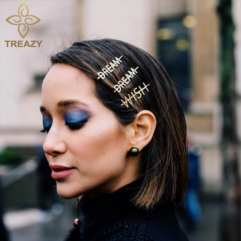 TREAZY Vintage Gold Color Metal Hairpins Headwear DREAM WISH Letters Barrettes Hair Clips Hair Accessories for Women Girls Gift