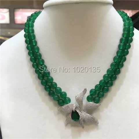 2rows green stone round necklace 10mm 18-19inch wholesale nature beads FPPJ green flower pendant