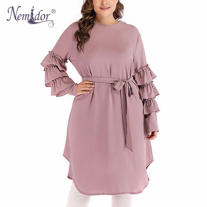 Nemidor Autumn Women O neck Beading Loose Plus Size Dress Vintage Long Sleeve Knee Length Casual Dress With Belt