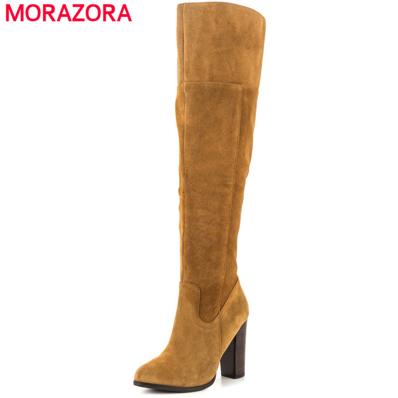 MORAZORA Plus size 34-45 high heels shoes over the knee boots zip solid kid suede fashion top quality womens boots memunia top quality over the knee boots fashion elegant womens boots female zip flock solid med heels shoes woman big size 34 44
