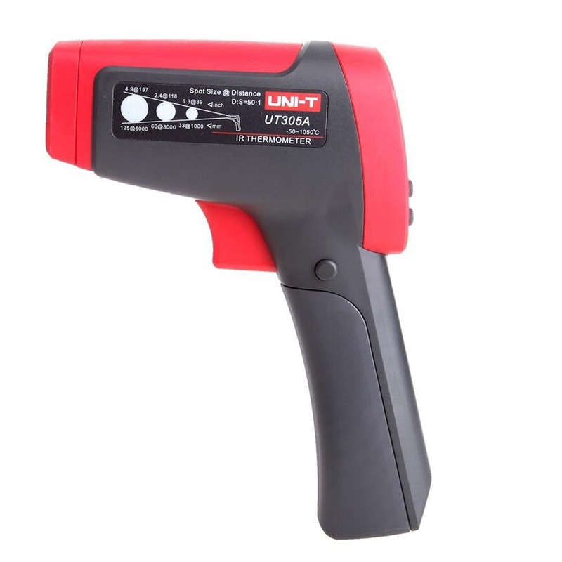 Uni T UT305A Infrared IR Laser Thermometer Temperature Gun 50C 1050C 50:1 D:S ratio /K type Temperature Probe test Data Storage