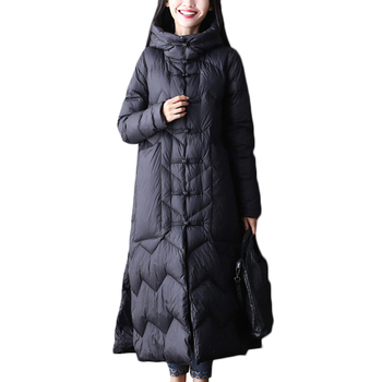 Winter New Down Jacket Women Fashion Black Long Slim 90% White Duck down Jackets Women's Casual Hooded White Duck down Coat B310
