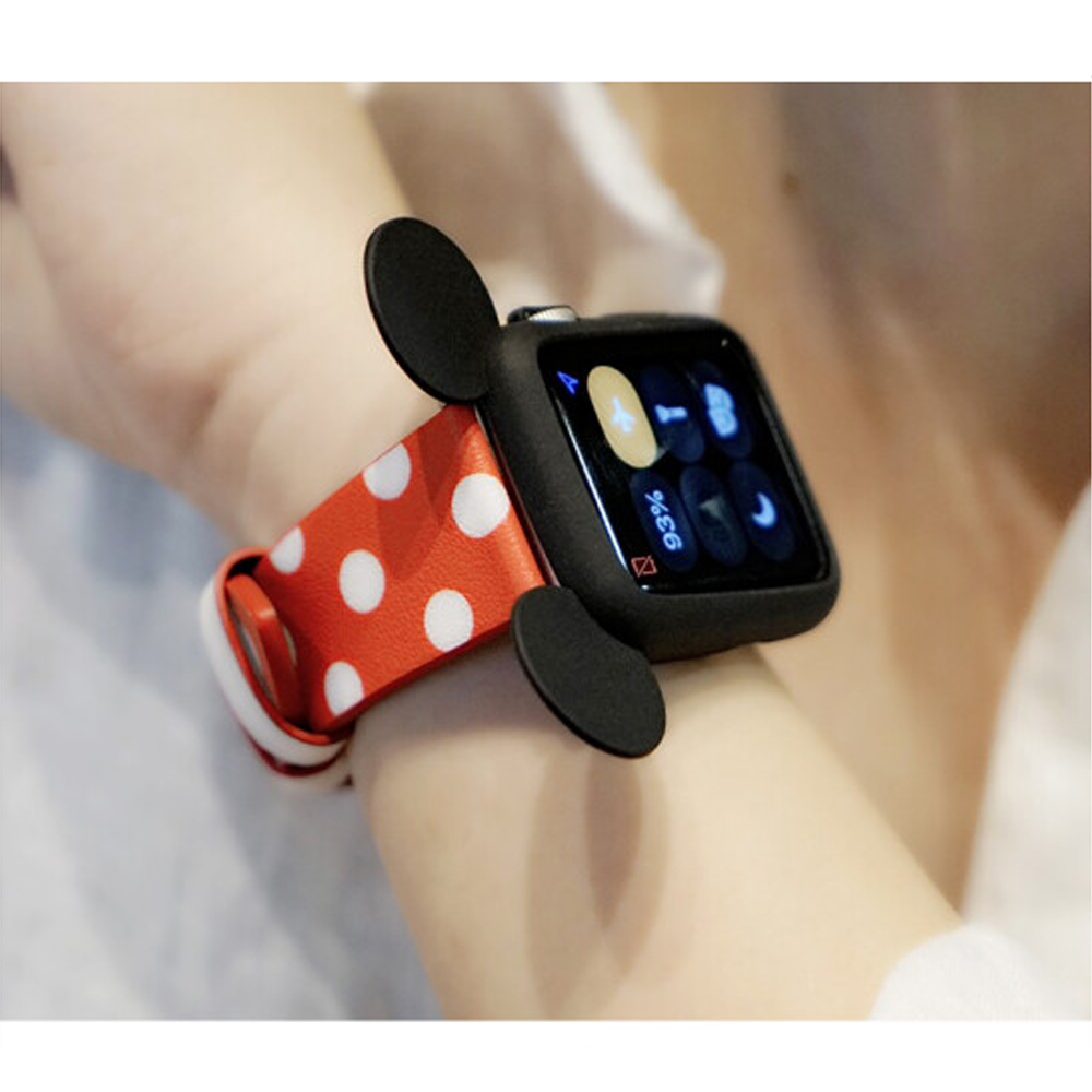 Silicone cover case for Apple Watch 42mm/38mm Cute cartoon Mouse ears Colorful Soft protective watch case For iWatch series 2/1 cute turtle pattern protective silicone back case for iphone 5c deep pink beige white black