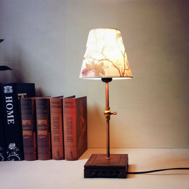 Led Table Lamp Reading Night Light Vintage Antique Lampshade For Living Room Bedroom