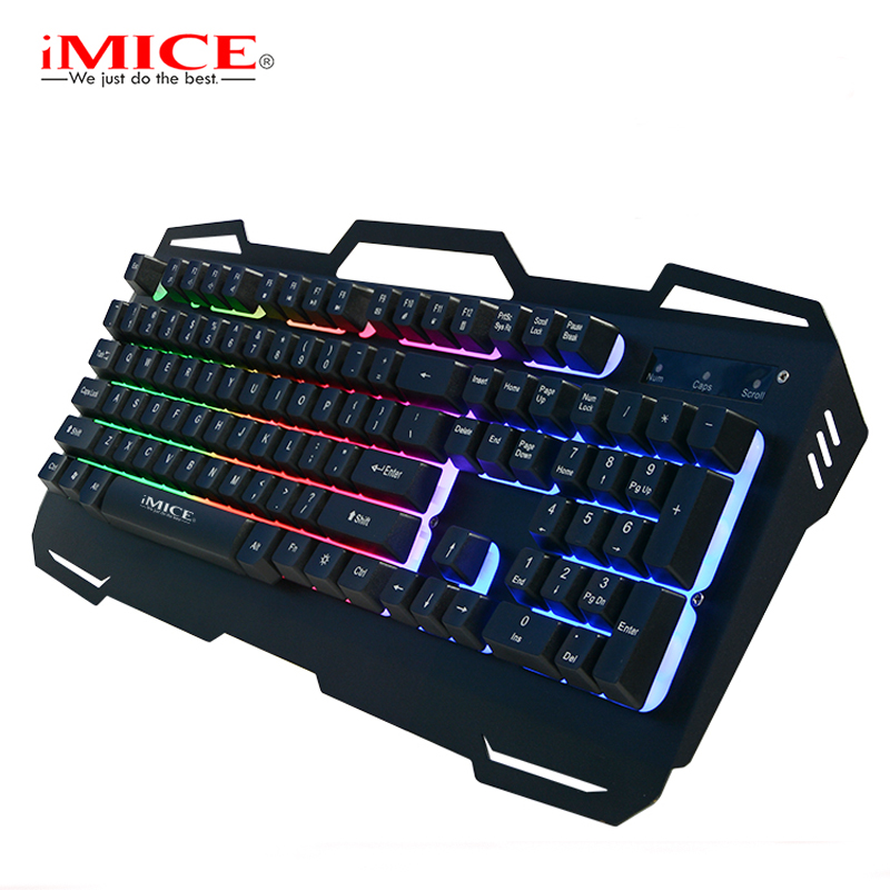 все цены на  Mechanical Feel Backlight Gaming Keyboard USB Computer Wired Metal Base LED Backlit Teclado Keyboard Gamer for CSGO LOL Dota 2  онлайн