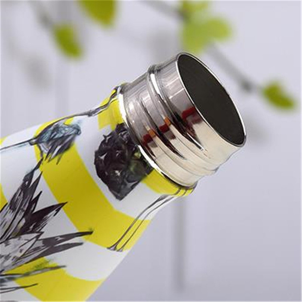 Flower Printed Water Bottle Stainless Steel Vacuum Cup Portable Handy Thermos New Outdoor Hiking Cycling Sport Bottle in Vacuum Flasks Thermoses from Home Garden