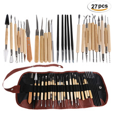 27Pcs Arts Crafts Clay Sculpting Tools Set Fimo Modeling Carving Tool kit Pottery & Ceramics Wooden Handle Modeling Clay Tools