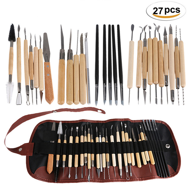 27Pcs DIY Arts Crafts Clay Sculpting Tools Set Modeling Carving Tool kit Pottery & Ceramics Wooden Handle Modeling Clay Tools