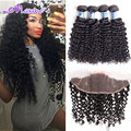 Thick Malaysian Virgin Hair With Closure, Ear To Ear Lace Frontal Closure With Bundles Malaysian Curly Hair With Frontal Closure