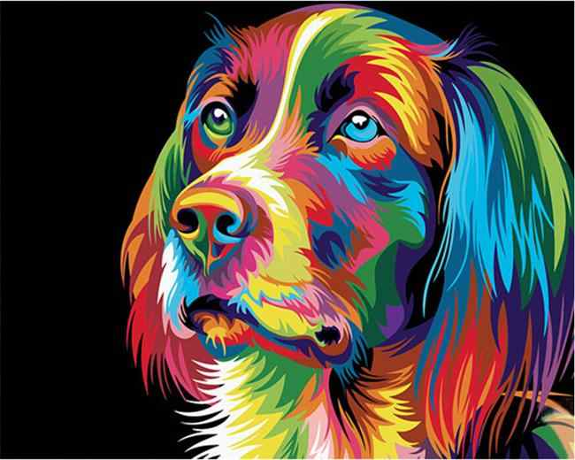 DRAWJOY Colorful Dog Animal Framed Picture Painting & Calligraphy DIY Painting By Numbers Coloring By Numbers