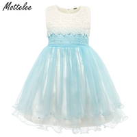 Baby Girls Dress Kids Girl Pearl Lace Sleeveless Frock Summer Ball Gown Children Tulle Fashion Flower
