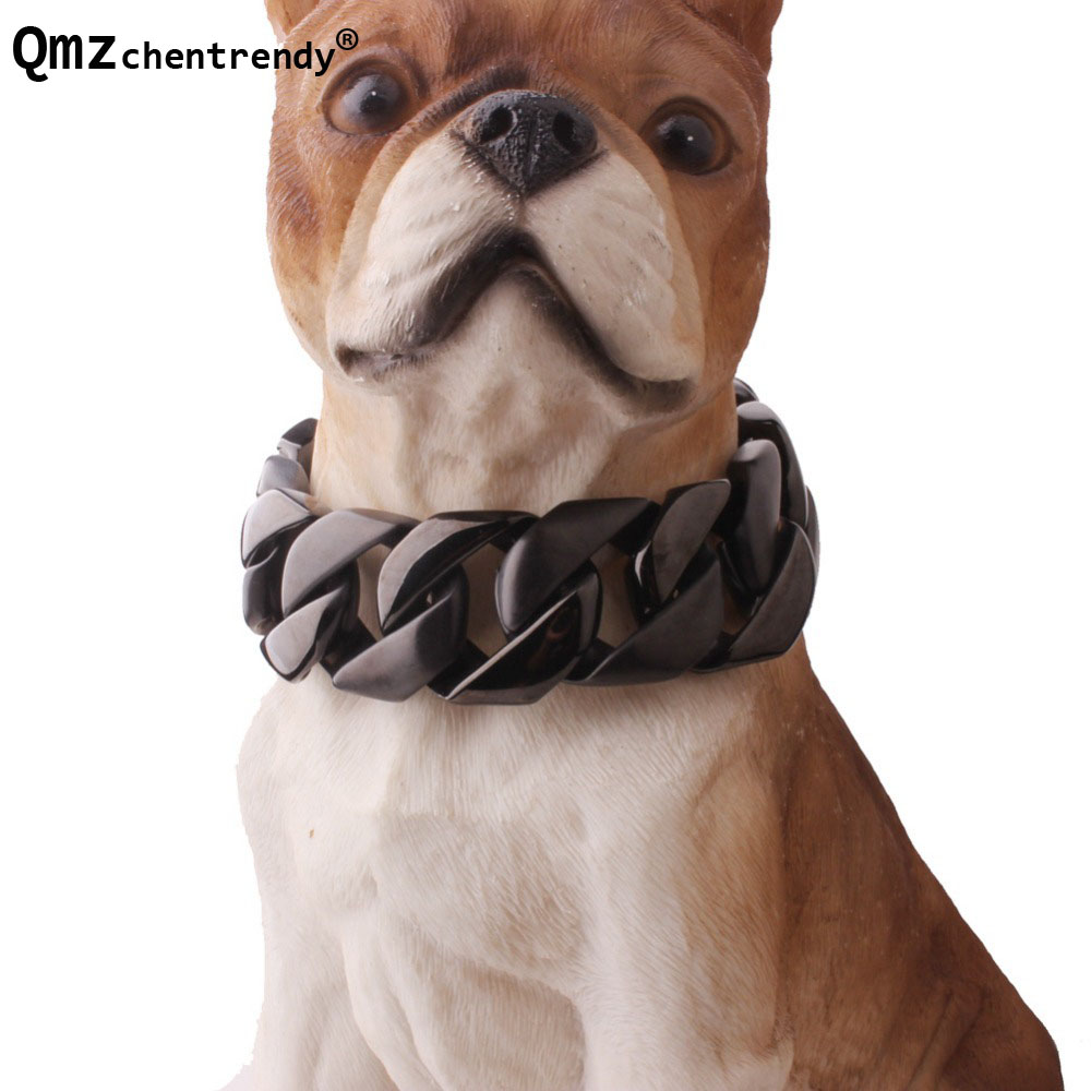 Exaggerated 30mm width Extra-coarse 316L Stainless Steel Black Tone Cut Cuban Pet Dog Chain Neckaces Collars Choker