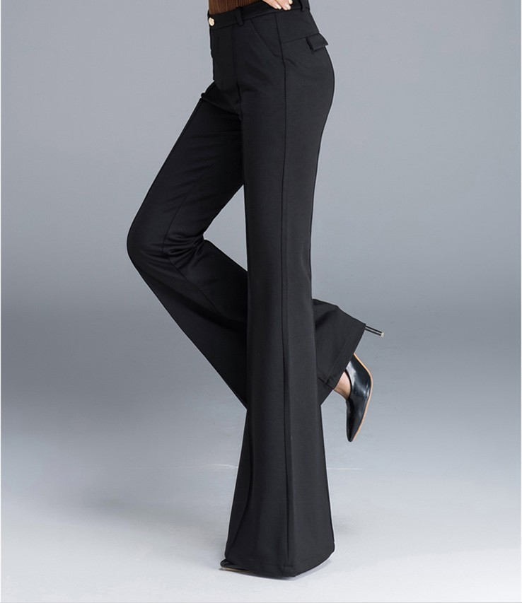 Ropa E Pantalones B 2018 Otoño A Casual black Mujeres Oficina Invierno Señora Alta Flare Black Nuevo Niñas Moda Cintura Ex6qR