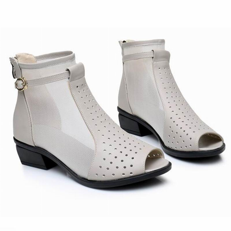 Fashion Yaerni Sandalen Frauen Stiefeletten Mesh Cut Med Beige Damen outs Echtem Neue Peep Schuhe Zip Sommer Heels Toe schwarzes Leder Frau Für wrw7g0q